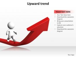 upward trend with arrow and 3d man walking ppt slides presentation diagrams templates powerpoint info graphics