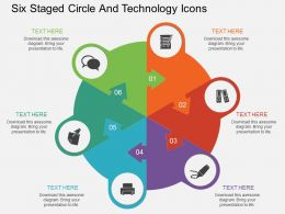 uq Six Staged Circle And Technology Icons Flat Powerpoint Design