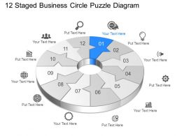 Uq Twelve Staged Business Circle Puzzle Diagram Powerpoint Template Slide