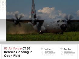 US Air Force C130 Hercules Landing In Open Field
