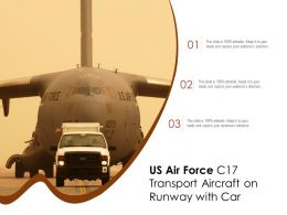 US Air Force C17 Transport Aircraft On Runway With Car