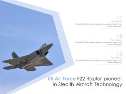 US Air Force F22 Raptor Pioneer In Stealth Aircraft Technology