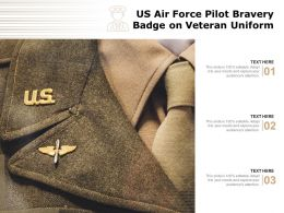 US Air Force Pilot Bravery Badge On Veteran Uniform