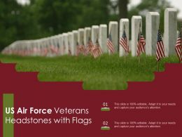 US Air Force Veterans Headstones With Flags
