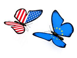 Us And European Flag Design Two Butterflies Stock Photo