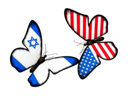 Us And Israel Flag Designed Butterflies Stock Photo