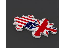 Us And Uk Flag Designed Puzzles Shows Union Stock Photo