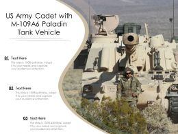 US Army Cadet With M 109A6 Paladin Tank Vehicle