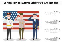 US Army Navy And Airforce Soldiers With America Flag