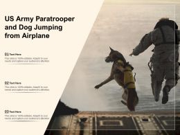 US Army Paratrooper And Dog Jumping From Airplane