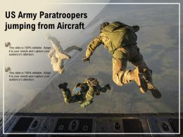 US Army Paratroopers Jumping From Aircraft