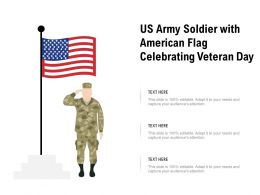 US Army Soldier With American Flag Celebrating Veteran Day