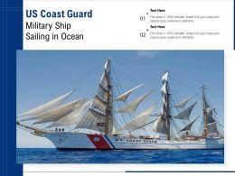 US Coast Guard Military Ship Sailing In Ocean