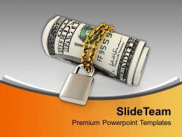 Us Dollars Chained And Locked Economy Powerpoint Templates Ppt Themes And Graphics 0213