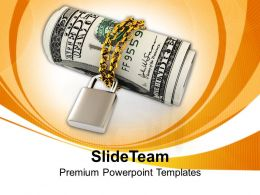 Us Dollars Chained With Padlock Security Powerpoint Templates Ppt Themes And Graphics 0213