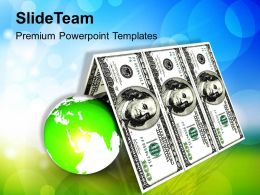 Us Dollars House Roof With Globe Powerpoint Templates Ppt Backgrounds For Slides 0213