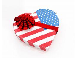 Us Flag Designed As Heart Gift Stock Photo