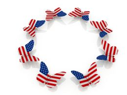 Us Flag Designed Butterflies In Circle Showing Team Formation Stock Photo