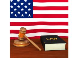 Us Law Concept With Flag And Gavel Stock Photo