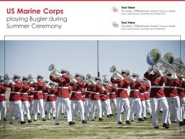 US Marine Corps Playing Bugler During Summer Ceremony