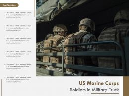 US Marine Corps Soldiers In Military Truck