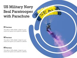 US Military Navy Seal Paratrooper With Parachute