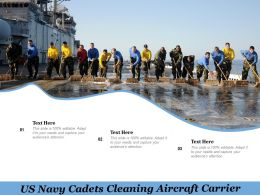 US Navy Cadets Cleaning Aircraft Carrier