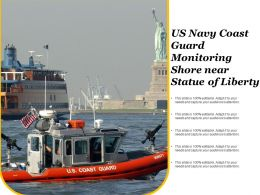 US Navy Coast Guard Monitoring Shore Near Statue Of Liberty