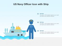 US Navy Officer Icon With Ship