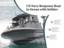 US Navy Response Boat In Ocean With Solider