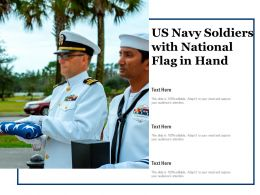 US Navy Soldiers With National Flag In Hand