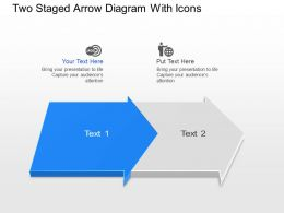 Us Two Staged Arrow Diagram With Icons Powerpoint Template Slide