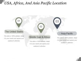 Usa Africa And Asia Pacific Location Powerpoint Slide Presentation Guidelines