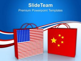 Usa And China Shopping Bags Sales Powerpoint Templates Ppt Themes And Graphics 0213