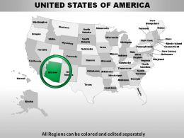 USA Arizona State Powerpoint Maps
