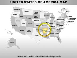 USA Arkansas State Powerpoint Maps