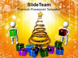 Usa Holidays Christmas Carol Celebration With Presents Powerpoint Templates Ppt Background