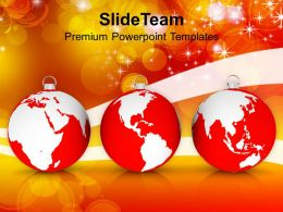 Usa Holidays Christmas Clipart Oranments With World Maps Globe Powerpoint Templates Ppt Backgrounds