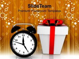 usa_holidays_christmas_wreath_alarm_clock_and_gift_box_festival_powerpoint_templates_themes_Slide01