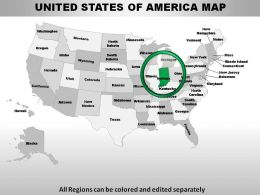 USA Indiana State Powerpoint Maps
