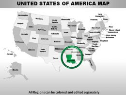 USA Louisiana State Powerpoint Maps