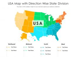 USA Map With Direction Wise State Division
