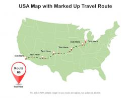 USA Map With Marked Up Travel Route
