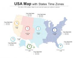 USA Map With States Time Zones