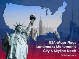 USA Maps Flags Landmarks Monuments City And Skyline Deck Powerpoint Template