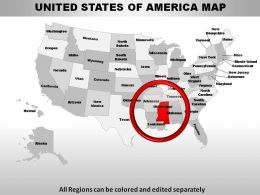 USA Mississippi State Powerpoint Maps