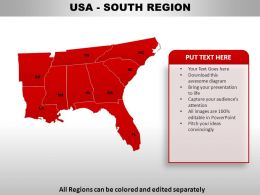 USA South Region Country Powerpoint Maps