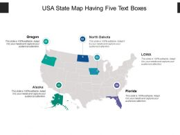 Usa State Map Having Five Text Boxes