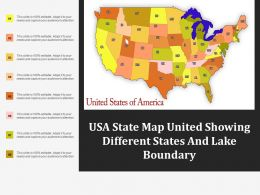 Usa State Map United Showing Different States And Lake Boundary