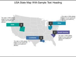 Usa State Map With Sample Text Heading